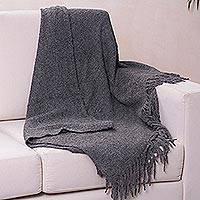 Alpaca blend throw, 'Cozy Rainy Days' - Ultra Soft Baby Alpaca Blend Throw Solid Grey Boucle