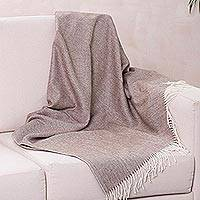 100% baby alpaca throw, 'Brown Herringbone' - Ultra Soft Baby Alpaca Throw with Brown Herringbone Pattern