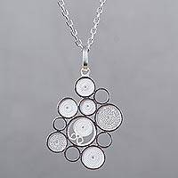 Sterling silver pendant necklace, 'Filigree Clouds' - Artisan Crafted Andean Silver Filigree Pendant Necklace