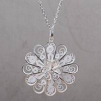 Sterling silver pendant necklace, 'Filigree Petals' - Handcrafted Floral Filigree Necklace in Sterling Silver