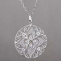 Sterling silver pendant necklace, 'Dawn Lily' - Floral Filigree Artisan Crafted Necklace in Sterling Silver