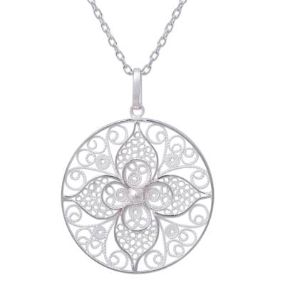 Floral Filigree Artisan Crafted Necklace in Sterling Silver