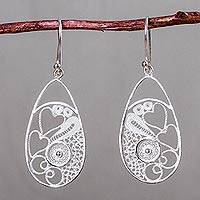 Sterling silver dangle earrings, 'Arabesque Hearts' - Sterling Silver Andean Filigree Heart Earrings from Peru