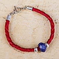 Sodalite and leather braided bracelet,