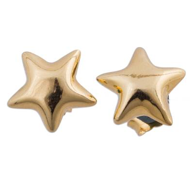 Petite Sterling Silver Star Earrings Bathed in 18k Gold