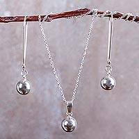 Sterling silver jewelry set, 'Shining Orbs' - Modern Style Andean Silver Necklace and Earrings Set