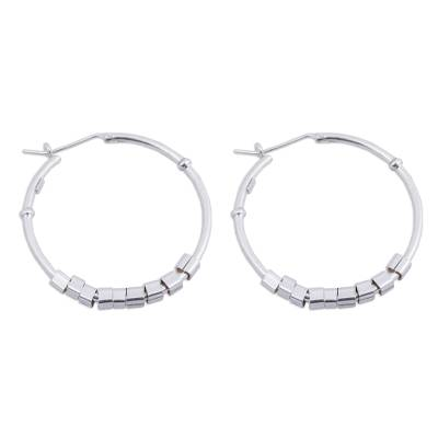 Contemporary Handcrafted Sterling Silver Hoop Earrings