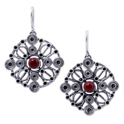 Ornate Circular 950 Silver Dangle Earrings with Jasper