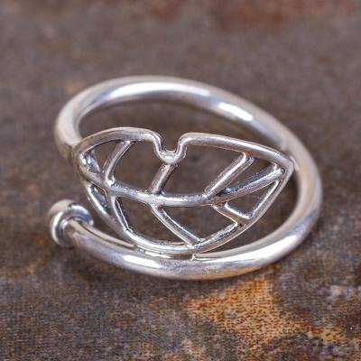 Artisan Crafted Andean 950 Silver Leaf Wrap Ring