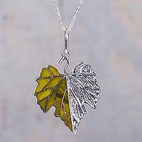 Serpentine pendant necklace, 'Grape Leaf' - Silver Leaf Theme Necklace with Andean Serpentine
