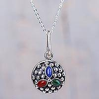 Multigem pendant.necklace, 'Colors of Cusco' - Peruvian Silver Necklace with Three Natural Gemstones