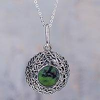Serpentine pendant necklace, 'Urubamba' - Fair Trade 950 Silver Necklace with Andean Serpentine