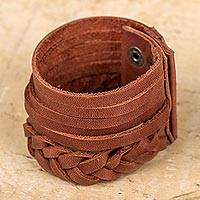 Leather wristband bracelet, 'Bold Russet' - Artisan Hand Braided Russet Brown Leather Wristband Bracelet
