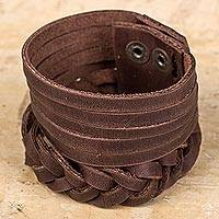 Leather wristband bracelet, 'Bold Cocoa' - Hand Braided Dark Brown Leather Wristband Bracelet