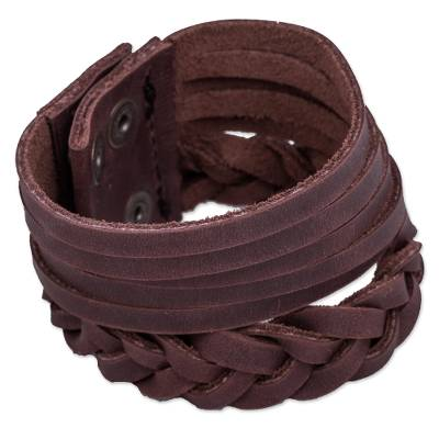Fair Trade Braided Brown Leather Braided Bracelet with Brass Snaps