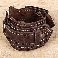 Leather wristband bracelet, 'Rugged Brown' - Unisex Dark Brown Leather Wristband Bracelet with Buckle
