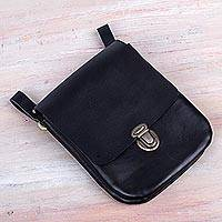 Men's leather belt bag, 'Essentially Practical in Black' - Men's Black Leather Belt Bag Crafted in Peru 2 Divisions