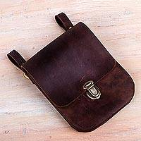 Men's leather belt bag, 'Essentially Practical in Brown' - Men's Brown Leather Belt Bag Crafted in Peru 2 Divisions
