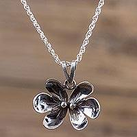 Sterling silver pendant necklace, 'Forest Butterfly' - Sterling Silver Butterfly Necklace Artisan Flower Jewelry