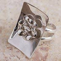 Sterling silver flower ring, 'Renaissance Rose' - Rose Ring High Polished Sterling Silver Peru Flower Jewelry