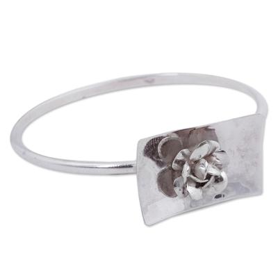 High Polished Rose Bracelet Sterling Silver Flower Jewelry