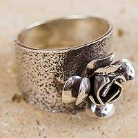 Sterling silver flower ring, 'Goth Fairy Rose' - Antiqued Sterling Silver Rose Band Ring from Peru