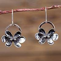Sterling silver pendant necklace, 'Forest Butterflies' - Sterling Silver Butterfly Earrings Artisan Flower Jewelry