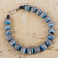 Ceramic beaded bracelet, 'Blue Inca Message' (Peru)