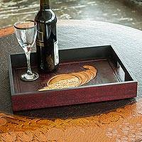Wood and leather serving tray, 'Cordovan Cornucopia' - Rectangular Tooled Leather Serving Tray in Cordovan Brown