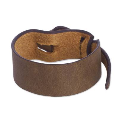 Artisan Crafted Leather Bracelet in Dark Camel Brown