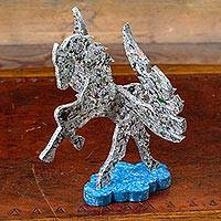 Upcycled sculpture, 'Pegasus' - Upcycled Tectan Board Handcrafted Winged Horse Sculpture