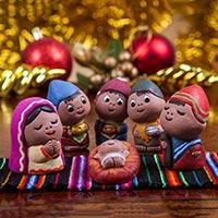 Ceramic nativity set, 'Andean Nativity' (set of 6) - Hand Crafted Ceramic Nativity Scene Statuettes (Set of 6)