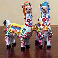 Ceramic statuettes, 'Llama Couple in White' (pair) - Handmade Multi-colored Ceramic Llama Statuettes (Set of 2)