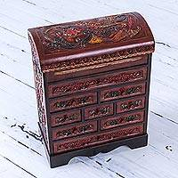 Wood and leather jewelry box, 'Garden Hummingbirds' - Peruvian Hand Carved Cedar Wood Jewelry Box with Mirror