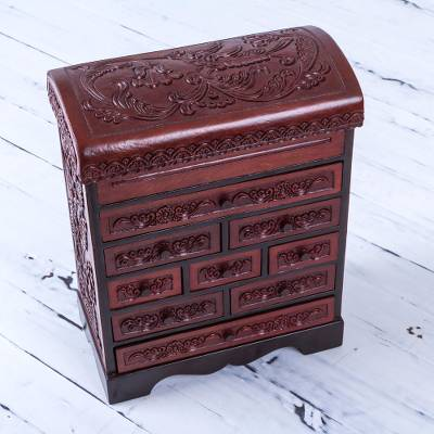 Wood and leather jewelry box, 'Hummingbirds' - Hand Crafted Cedar Wood Jewelry Box with Floral Motif