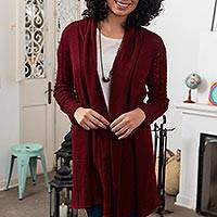 100% baby alpaca long cardigan, 'Cranberry Red' - Artisan Crafted 100% Baby Alpaca Red Cardigan Duster