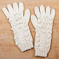 100% baby alpaca gloves, 'Ivory Islands' - Peruvian 100% Baby Alpaca Hand Knitted Gloves in Ivory