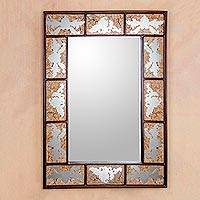 Wood mirror, 'Leaves' - Artisan Crafted Wood Framed Mirror from Peru