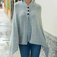 100% alpaca poncho, 'Saymelt' - Peruvian Poncho in Undyed Natural Grey Color 100% Alpaca