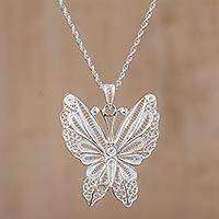 Sterling silver filigree pendant necklace, 'Butterfly Glam' - Peruvian Filigree Butterfly Necklace in 925 Sterling Silver