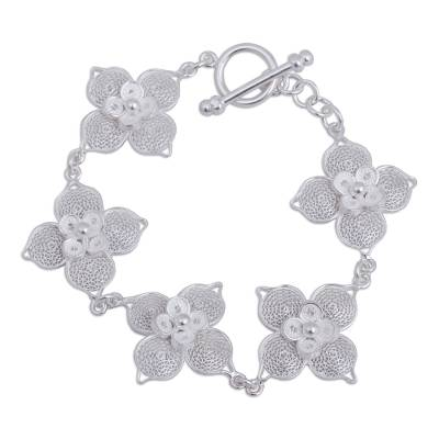 925 Sterling Silver Bracelet with Filigree Flower Links