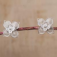 Sterling silver filigree flower button earrings,