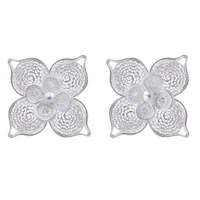 925 Sterling Silver Button Earrings with Filigree Flowers
