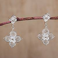 Sterling silver filigree flower dangle earrings,
