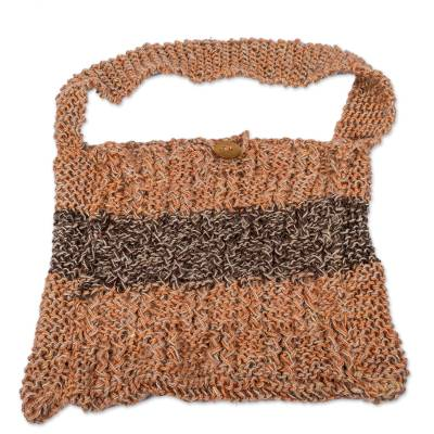 Artisan Crafted Jute Shoulder Bag in Orange and Brown