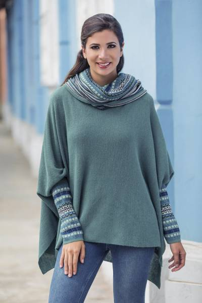 100% alpaca poncho, Teal Trends