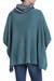 100% alpaca poncho, 'Teal Trends' - Teal 100% Baby Alpaca Fair Isle Knit Poncho (image 2d) thumbail