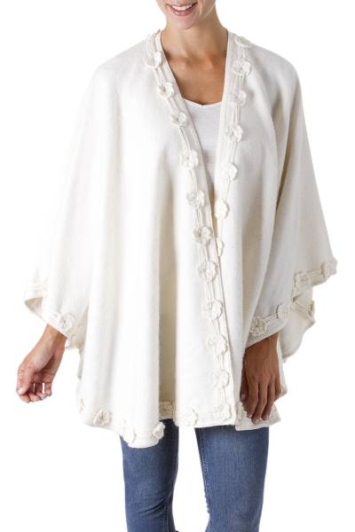 Alpaca blend ruana, 'Garden in Snow' - Peruvian Artisan Crafted Alpaca Blend Ruana Wrap in White