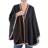Alpaca blend ruana, 'Daring' - Artisan Crafted Alpaca Blend Bordered Ruana Wrap in Black
