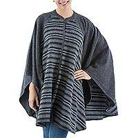 Alpaca blend ruana, 'Classic Charcoal' - Grey Striped Alpaca Blend Ruana Wrap from Peru